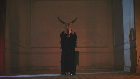 Hooded person in old room with bull skull