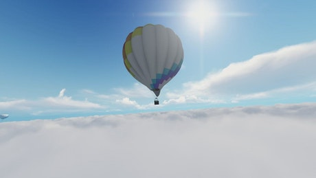 Hot air balloon over the clouds