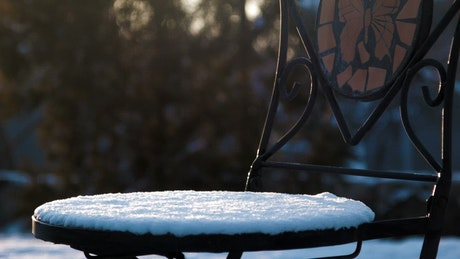 Hot tea on our snow-covered chair