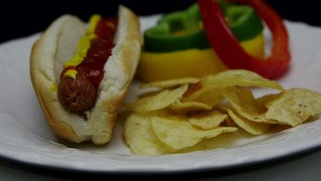 Hotdog with ketchup and mustard