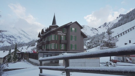 Hotel in the snowy mountains