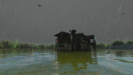 House in the middle of a lake on a rainy day