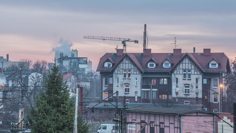 Houses and crane time lapse