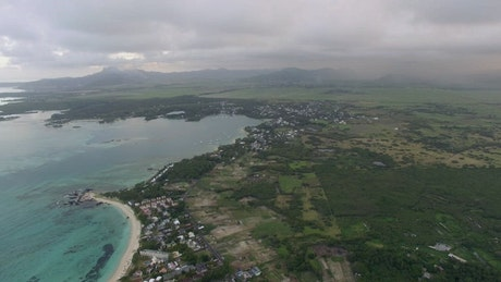 Houses by the coast of Mauritius Island