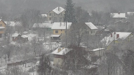 Houses during snowfall