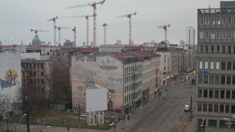 Hovering over an empty section of Berlin