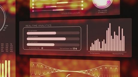 HUD style animated financial analytics