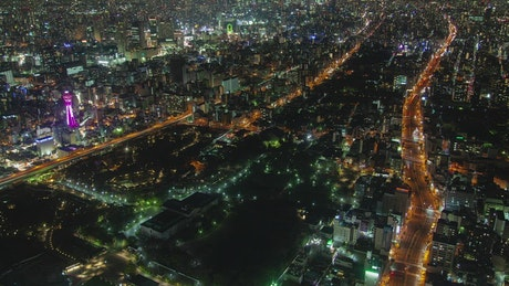 Huge city at night in a high shot