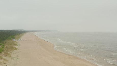 Huge lonely beach overlooking the skyline
