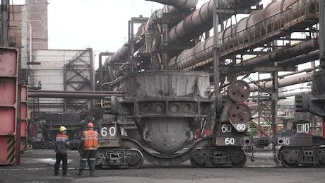 Huge metal tanks in a factory