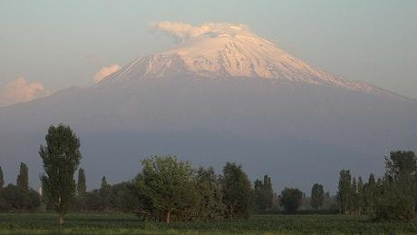 Huge mountain peak with snow