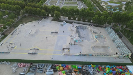 Huge park with skating and bike rinks