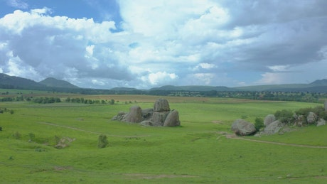 Huge rocks on a plain, seen from above