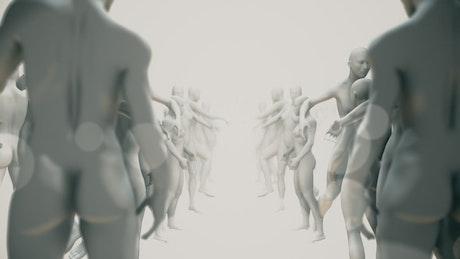 Human body sculptures, 3D render