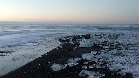 Ice blocks on the seashore