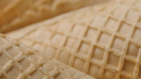 Ice cream cones seen in great detail
