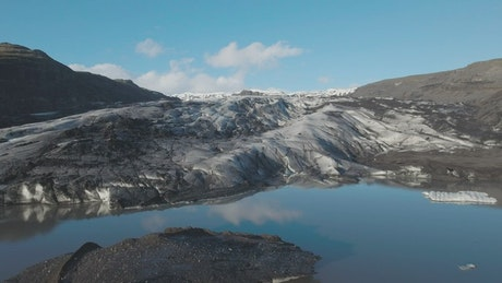 Ice fields in front of a glacier