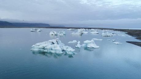 Ice melting on a lake
