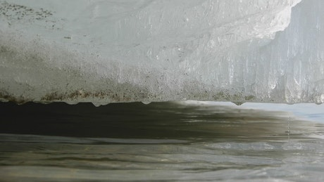 Ice thawing on a river