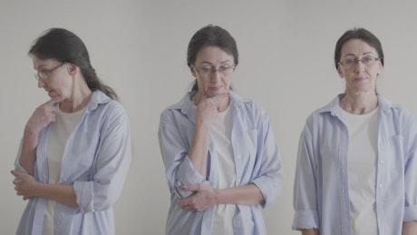 Identical women thinking in different ways on white background