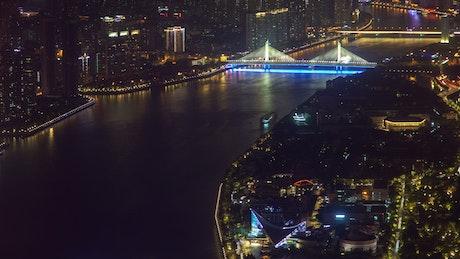 Illuminated bridge in the city