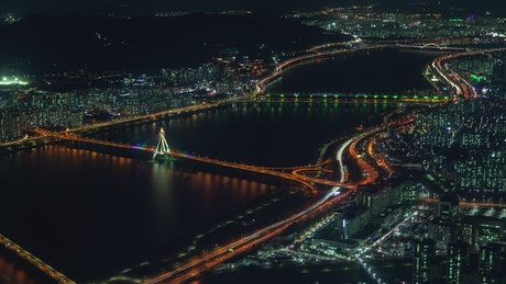 Illuminated bridges in Seoul at night