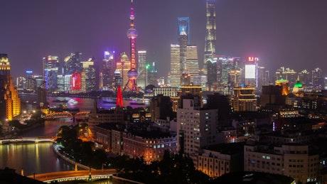 Illuminated buildings in Shanghai city scape