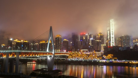 Illuminated city and skyscraper flashing lights