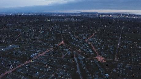 Illuminated city seen from above