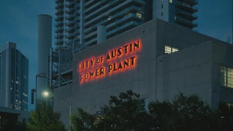 Illuminated Facade of the Austin Texas Power Plant
