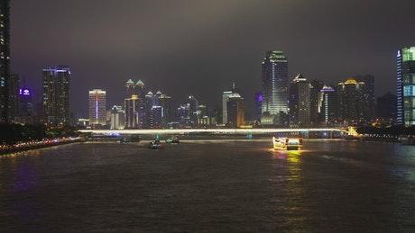 Illuminated ferries and the Guangzhou city lights
