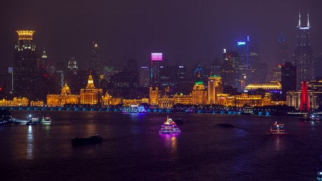 Illuminated ferries on the Shang Hai in River