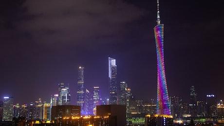 Illuminated Guangzhou TV tower at night