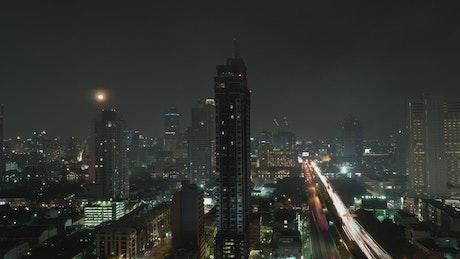 Illuminated roads of Bangkok