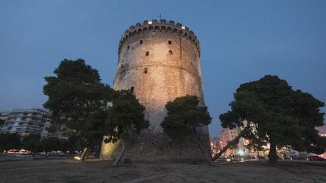 Illuminated tower at night