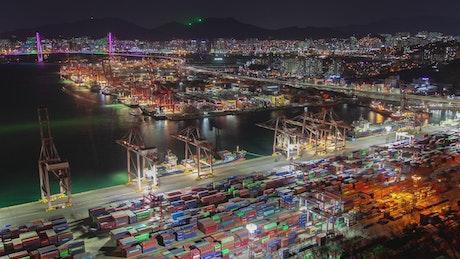 Iluminated containerport at night