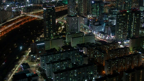 Immense city lit up at night