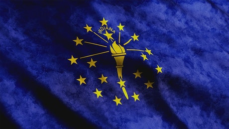 Indiana State flag waving in the wind