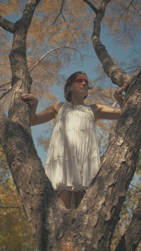 Indie fashion girl wearing white dress
