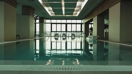 Indoor pool with a great view