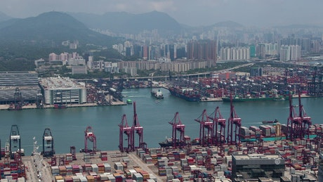 Industrial container terminal in Hong Kong