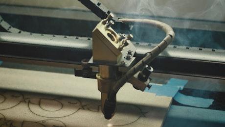 Industrial cutting machine cutting fiber