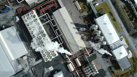 Industrial manufacturing factory from above