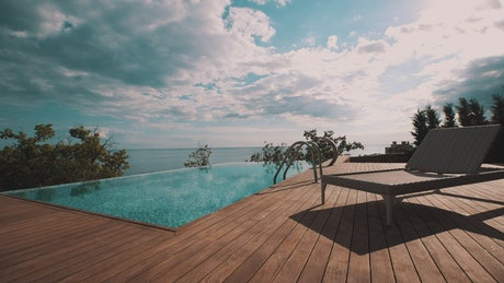Infinity pool and wooden deck