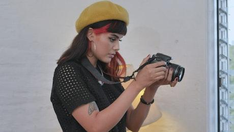 Influencer recording with a camera