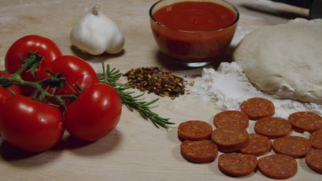 Ingredient for a home made pizza