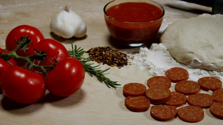 Ingredients for fresh pizza