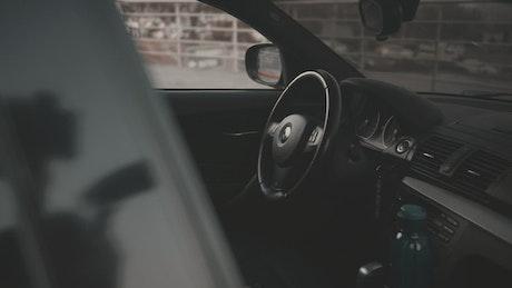 Inside a BMW car
