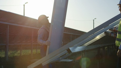 Installing a solar panel in the field