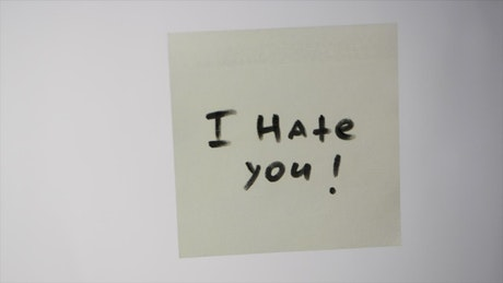 Insult written on a note